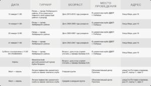Календарь шахматных соревнований на I полугодие 2018